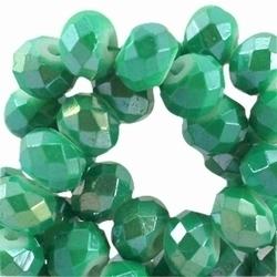 10 Stuks Glaskraal facet rondel met diamond coated licht Emerald 6x4 mm