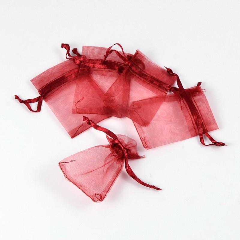 c.a. 100 stuks mini organza zakjes 5 x 7 cm Bordeaux rood