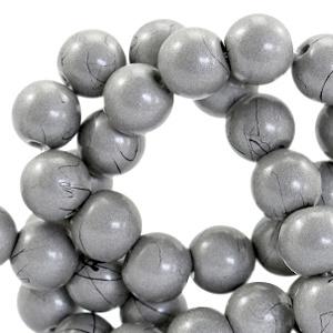 10  stuks  8 mm glaskralen drip-art Metallic grijs