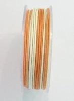 Wax-koord Dubbelkleur oranje creme 0,5 mm. Per rol van 10 meter