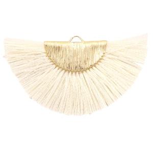 Kwastjes hanger Gold-off white