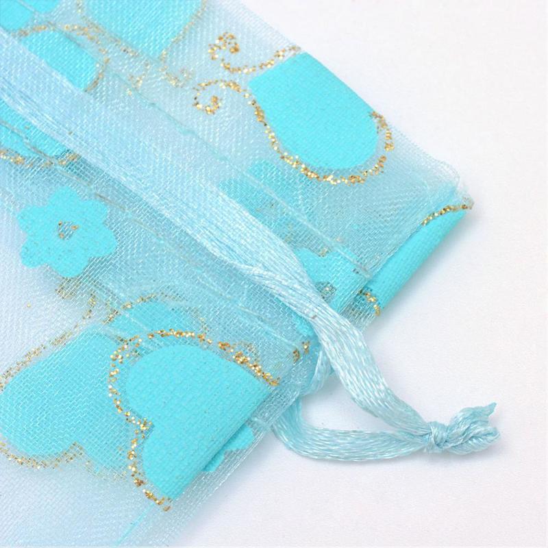 c.a. 50 stuks organza zakjes 7 x 9 cm blauw met hart bestellen