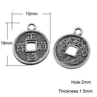 4 x Tibetaans zilveren Chinese geluksmunt 19 x 15 x 1,5 gat: 2mm