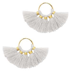 Kwastjes hanger Gold-light grey