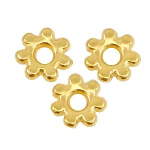 10 x  DQ metaal kraal spacer Bali ring 4.8mm Goud (nikkelvrij)(in bestelling)