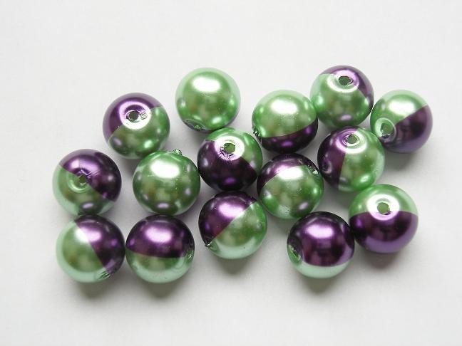15 stuks tweekleurige glas parels van 10mm Gat: 1mm paars-groen