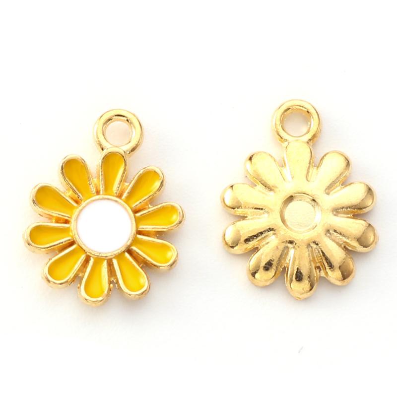 2 x vrolijke metalen bedels bloem geel wit 14 x 12mm