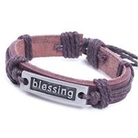 Runderlederen armband verstelbaar blessing kleur bruin
