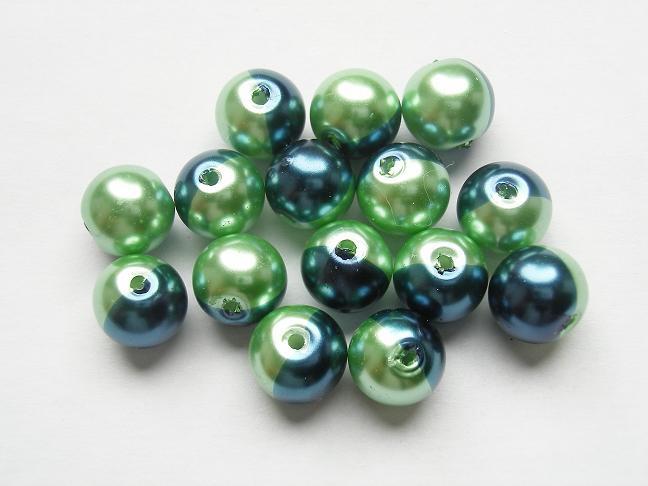 15 stuks tweekleurige glas parels van 10mm Gat: 1,5mm blauw-groen
