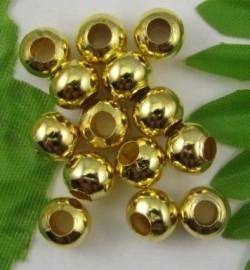 """100 stuks """"gouden"""" kraaltjes, 4mm metaal nikkelvrij gat c.a. 1,5mm"""