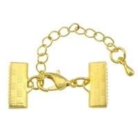 Goud kleur veterklem met sluiting incl. verlengketting 10mm