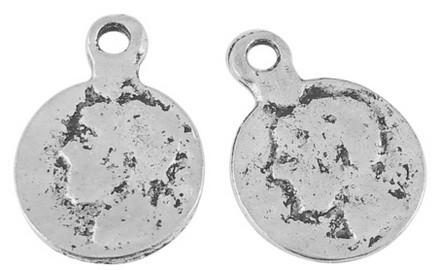 6 x Tibetaans zilveren munt 24 x17mm x 1mm, Gat: 2mm