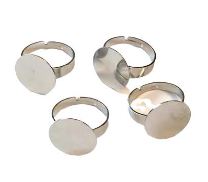 2 x verstelbare basis ring diameter 17mm en groter  tray 15mm platinum