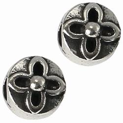 Per stuk European Jewelry kraal metaal rond met bloem antiek zilver 10 mm
