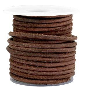 20 cm DQ Leer rond 3 mm Dark chocolate brown