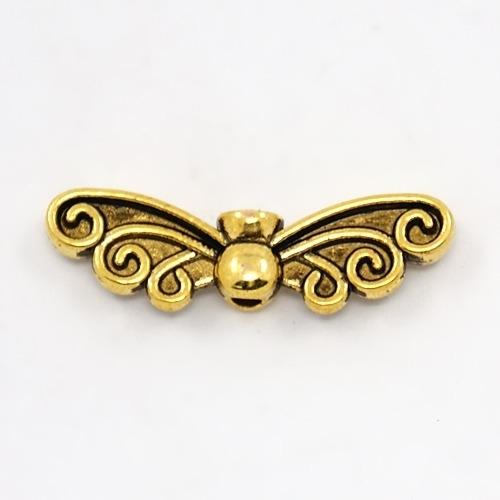 10 stuks tibetaans zilveren vlinder vleugel 6 x 22 x 4mm oogje: 1mm goud
