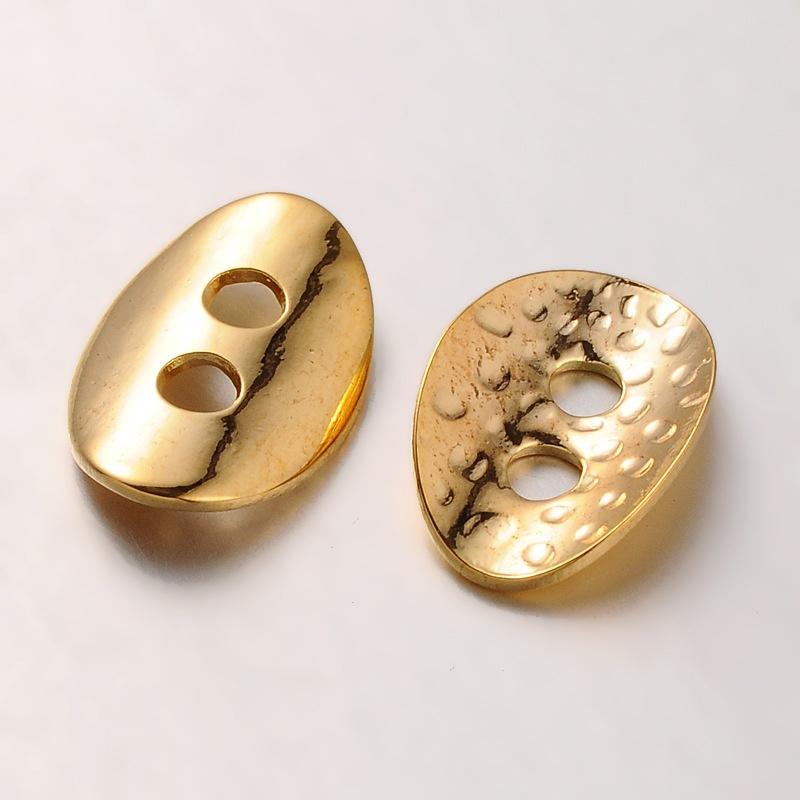 Metalen knoop tussenzetsel goudkleur 14 x 10 x 1mm gat: 2mm