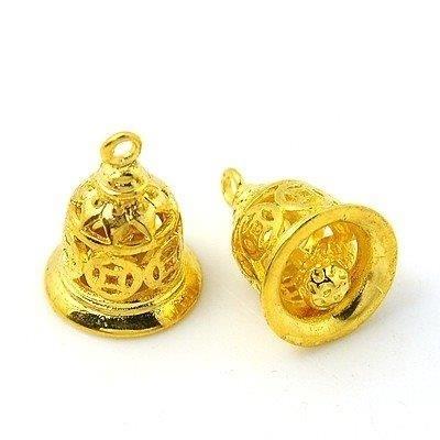 Prachtig bedeltje van een klokje, goud kleur, 15,5 x 11,5mm Gat: 1,5mm