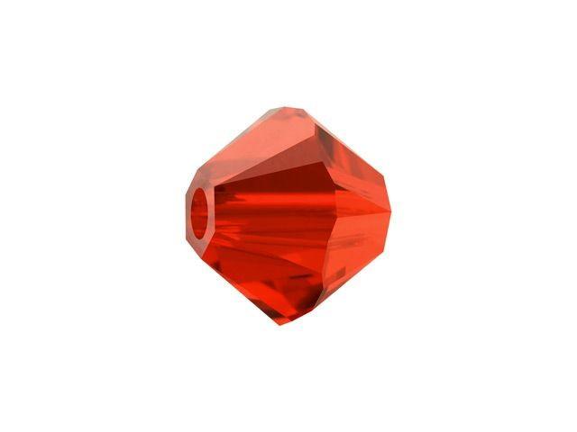 10 x Preciosa Kristal Bicone ca. 6mm gat: 1mm donker oranje