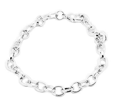 Prachtige basis armband om bedels aan te bevestigen 21cm, schakel is 4x7mm zilverkleur