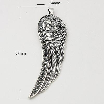 Schitterende grote Engelenvleugel hanger voor 3mm strasssteentjes 24 x 87 x 6mm Oogje: 3mm