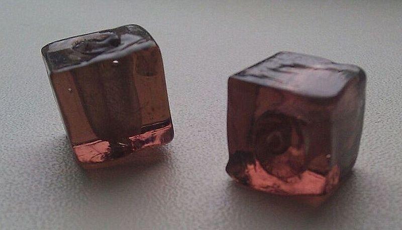 10 x  glaskraal kubus transparant bruin 12 mm
