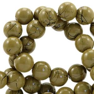 15  stuks 6 mm glaskralen drip-art Dark olive green
