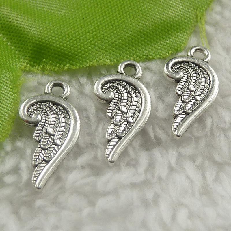 10 stuks Tibetaan zilveren engelen vleugels 20 x 10 x 1mm gat: 2mmzilver kleur