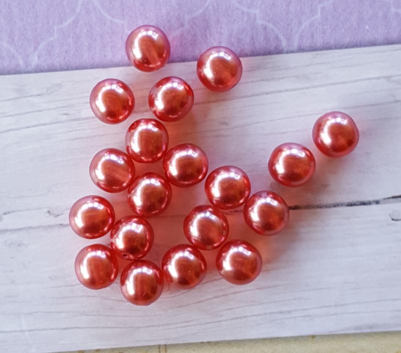 Nieuw! 25 x  transparante DQ glasparel 8mm kleur: Lollypop
