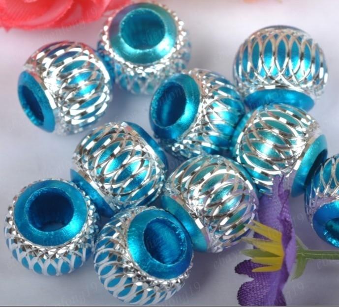 10 x Prachtige blauwe aluminium kraal 14mm