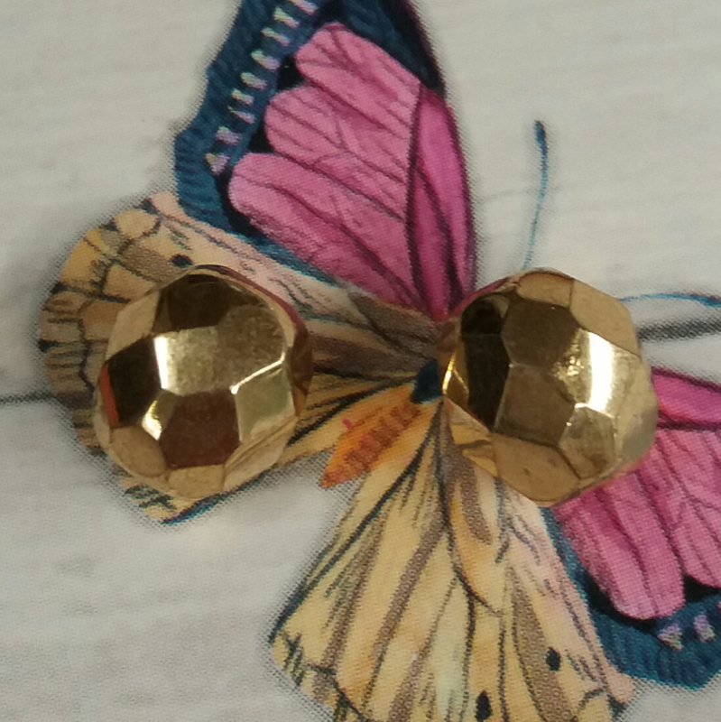 10x glaskraal facet rond goudkleur glanzend 8 mm Gat: 1 mm
