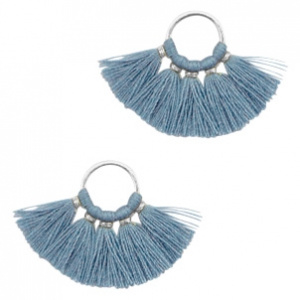 Kwastjes hanger Silver-aegean blue