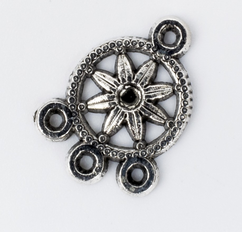 5x Tibetaans zilveren ornament 18,4 mm x 13,5 mm