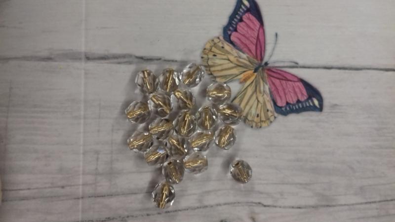 10 Stuks Glaskraal facet kristal transpirant met goud 6 mm