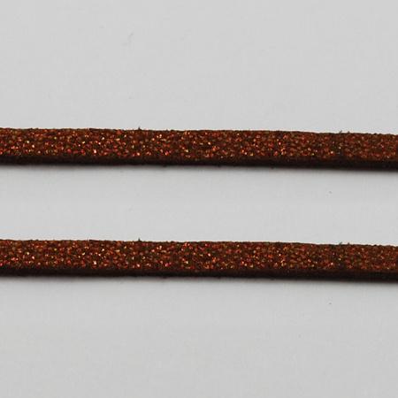 Faux suède veter,  donker goud bruin 1 meter x 3mm lichte glans