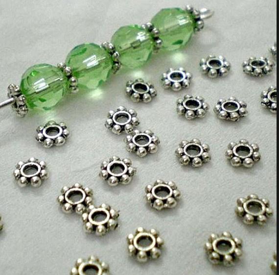 25 stuks tibetaans zilveren spacer kralen tussenzetsels 4 x 1mm  gat: c.a. 1mm