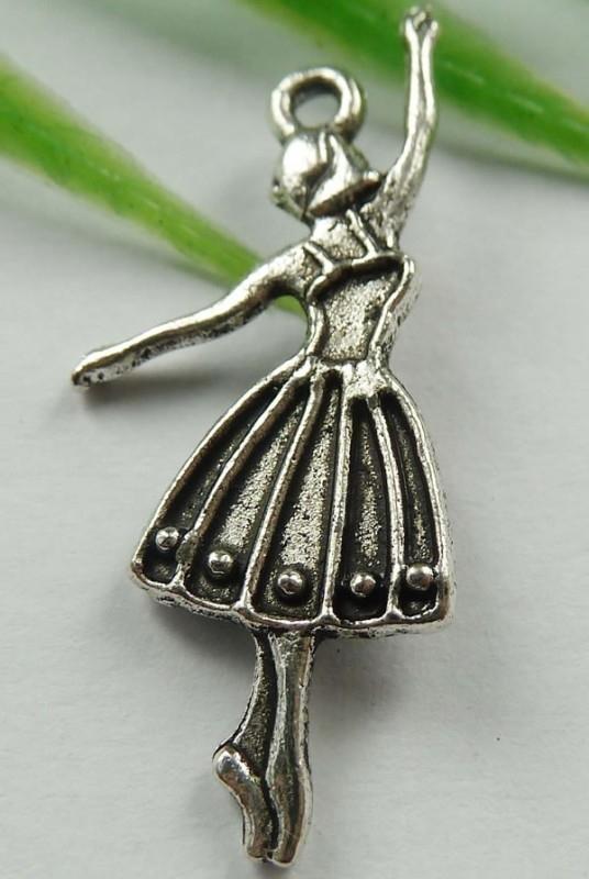 4 x  Tibetaans zilveren bedel balletdanseres 32mm x 13mm x 2mm gat: 2mm