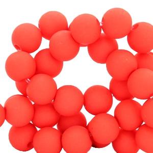 15 stuks 10 mm acryl kralen Deep coral red
