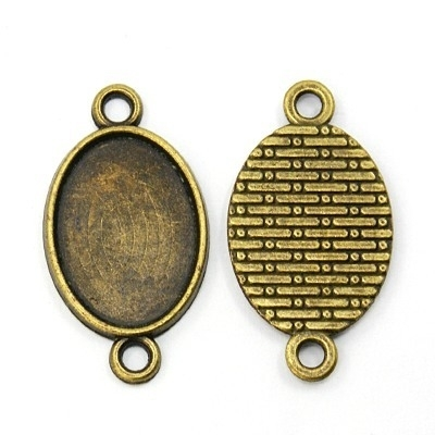 Houder R: Prachtige Camée of Cabochon houder connector Binnenzijde: 18 x 25mm