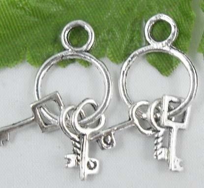 4 x Tibetaans zilveren sleutelbos 12 x 12 x 1 mm