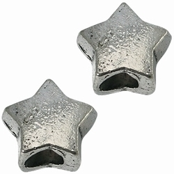 Per stuk European Jewelry kraal metaal Ster antiek zilver 12 mm