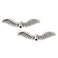 10 stuks Tibetaans zilveren vleugeltjes afmeting 26,5 x 7 x 3mm