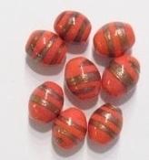 02-059 Per stuk Glaskraal India ovaal oranje/rood met goud-randje 12 mm