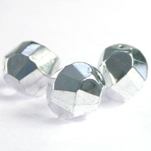 10 x Top helix vorm 10 mm facetkraal Crystal Silver