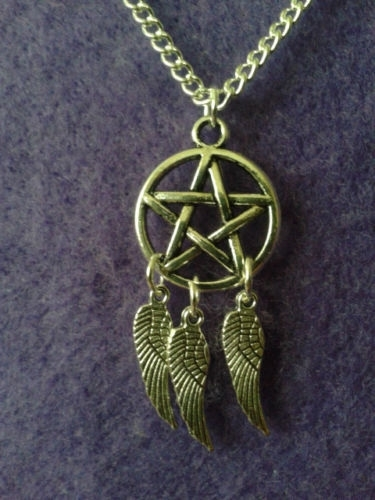 4 x Tibetaans zilveren pentagram 20x17mm (pentakel) goud kleur
