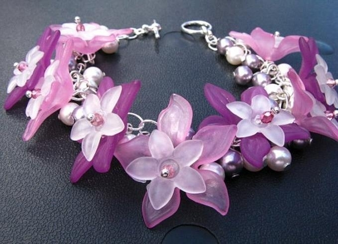 10 x Prachtige acryl bloem kelk 29 x 27 x 8mm Gat 2mm pink