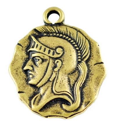 4 x Prachtige Tibetaans zilveren bedel goudkleur  van de Ridder 20 x 24 x 2mm, Oogje 2mm