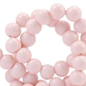 10 x 6mm glaskraal half mat Licht roze