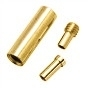 4 stuks spang-draad-staaldraad-kabel sluitingen 3-delig tot 1mm dik draad 12,5 x 4mm, gat: 1mm Goudkleur