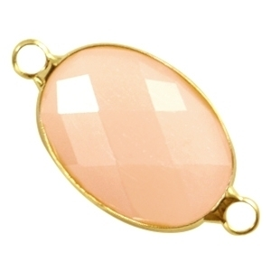 Crystal glas tussenstukken ovaal 13x18mm Peach opal-gold